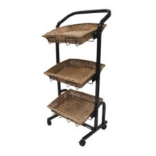 Mobile Merchandisers® K1603BT 3-Tier Willow Basket Display Rack