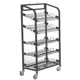 Mobile Display Rack, Black 5 Shelf, 56 x 29 x 18