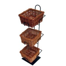 Mobile Merchandisers CR0620/3B 3 Tier Countertop Wicker Baskets