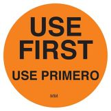 "DayMark 114950 DuraMark Round Orange 1-1/2"" Use First Label - 500 / RL"