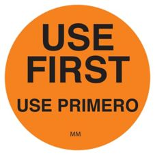 """DayMark 114950 DuraMark Round Orange 1-1/2"""" Use First Label - 500 / RL"""
