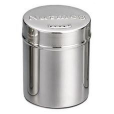 Tablecraft 756 6 Oz. Stainless Steel Nutmeg Shaker with Storage Cap