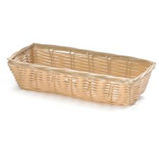 "TableCraft 1116W 9"" Natural Hand-Woven Plastic Basket - Dozen"