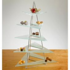 Isinglass 5 Tiered Triangular Display Stand with 5 Glass Platters