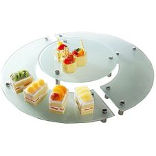 Isinglass DP001-SET-2 Frosted Round 3-Piece Display Stand With Legs