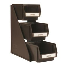 Vollrath 4842-01 Traex® Brown 3-Bin Self Serve Countertop Stand