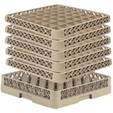 Traex® TR7CCCCC Beige 36 Compartment Glass Rack with 5 Extenders