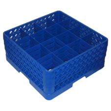 Vollrath TR8DDD-44 Traex Blue 16-Compartment Glass Rack w/ 3 Extenders