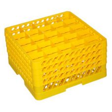 Vollrath TR6BBBB-08 Traex Yellow 25 Compart. Glass Rack w/ 4 Extenders