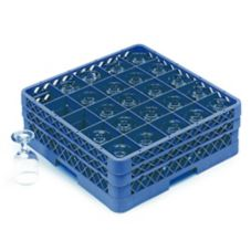 Vollrath TR6BBB-44 Traex Royal Blue 25 Comp. Glass Rack w/ 3 Extenders