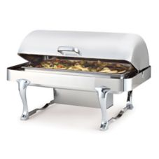 Chrome and Silver Plated Rectangular Millenium Rolltop Chafer, 8 Qt