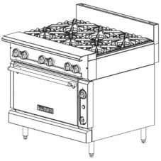 "Vulcan Hart 36"" Gas Range w/ 6 Burners and Standard Oven"