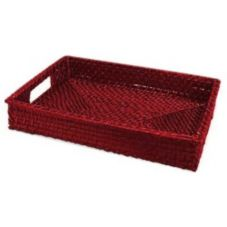 "Front Of The House BPT018RDW22 14.5"" Scarlet Rattan Tray - 6 / CS"