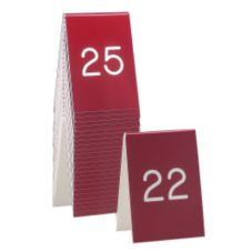 "Cal-Mil® 271C-1 Red / White 3.5 x 5"" Table Tent (No.51 to 75)"