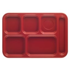 "Cambro PS1014416 Cranberry 10"" x 14"" Penny-Saver 6-Comp Tray - Dozen"