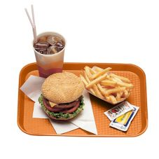 "Cambro 1216FF166 Orange 12"" x 16"" Fast Food Tray - Dozen"