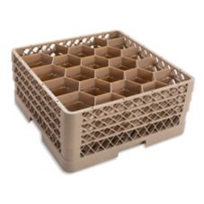 Traex® TR11GGG Beige 20 Compartment Glass Rack with 3 Extenders
