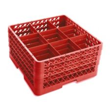 Traex® TR10FFFF-02 Red 9-Compartment 4-Extender Glass Rack
