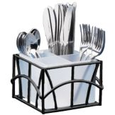 Cal-Mil 587-13 Sunrise Black Wire Cutlery Holder w/ 4-Comp Holder