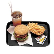 "Cambro® 1418FF110 Black 14"" x 18"" Fast Food Tray - Dozen"