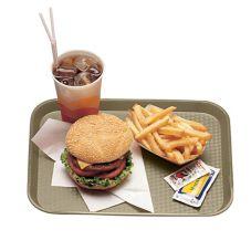"""Cambro 1418FF104 Desert Tan 14"""" x 18"""" Fast Food Tray - Dozen"""