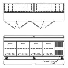 "Randell® 84111NPCB Refrigerated 111"" Raised Rail Prep Table"