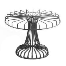 "Dover European Metalwork D-05BS Pewter Look Steel 17"" Round Cake Stand"