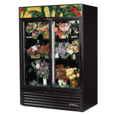 True® Black 47 Cu Ft Glass Sliding Door Floral Case Refrigerator