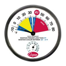 "Cooper Atkins 12"" 10-80F Cooler Thermometer w/ Humidity Scale"