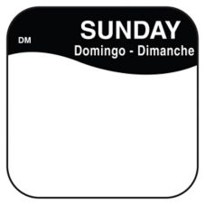 "DayMark 1100377 DissolveMark™ .75"" Sunday Day Square - 1000 / RL"