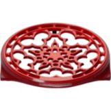 "Le Creuset® N0200-67 Cherry Red 9"" Trivet with Rubber Feet"