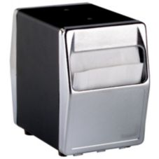 Traex® 6509-06 Black and Chrome 2-Sided Tabletop Napkin Dispenser
