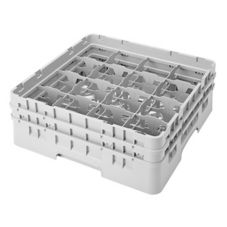 "Camrack 16S434151 Soft Gray 16 Compartment 5-1/4"" Full Size Glass Rack"