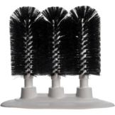 "Carlisle Sparta® Black, 8"" Triple Glass Washer Brushes"