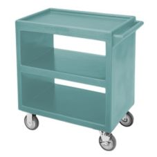 "Cambro BC2304S192 Granite Green 20"" x 27"" 3 Shelf Open Service Cart"