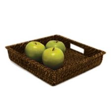 "Front Of The House BPT022BRK22 16"" Brown Rattan Tray - 6 / CS"