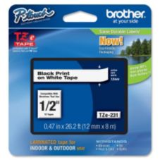"Brother® BRTTZE231 Black / White 1/2"" TZe231 Label Tape"