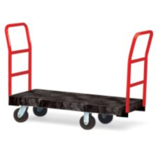 "Rubbermaid® FG443686BLA Black 2-Handle 48"" Platform Truck"