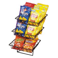 Cal-Mil 1293-3 Black Wire 3 Tier Rack w/ (3) Square Wire Baskets