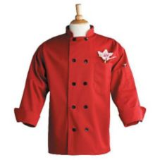 Uncommon Thread 0405RM Red Medium Chef Coat With Thermometer Pocket