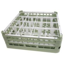 Vollrath 5271911 Light Green Full Size Tall 16-Compartment Glass Rack