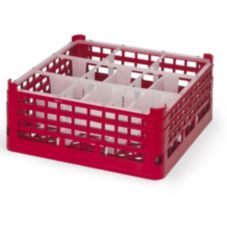 Full Size Short Plus 9-Compartment Glass Rack, Red