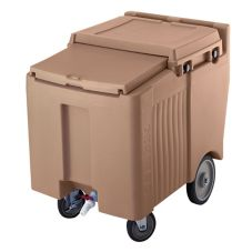 Cambro ICS125L157 Coffee Beige Standard SlidingLid 125 Lb. Ice Caddy
