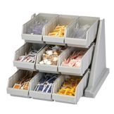 Cambro 9RS9480 Versa Speckled Gray 9-Bin Organizer Rack
