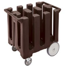 Cambro Dark Brown Fixed 6-Column Dish Caddy, Max Plate Size 7""