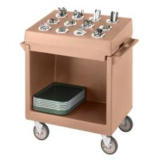 Cambro TDCR12157 Coffee Beige Tray / Dish Cart w/ 12-Comp Cutlery Rack