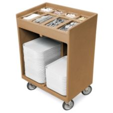 Cambro TC1418157 Coffee Beige Tray / Silverware Cart with Vinyl Cover