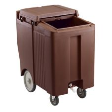 Cambro ICS175TB131 Dk Brown Tall 175 Lb. Capacity SlidingLid Ice Caddy