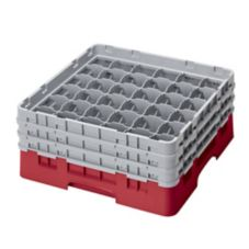 Cambro 36S638163 Red Camrack® Full Size 36-Compartment Glass Rack