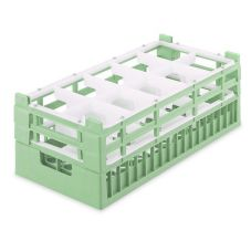 Half Size X-Tall 10-Compartment Glass Rack, Light Green